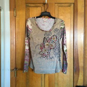 Sundance Printed Long Sleeve Top Small
